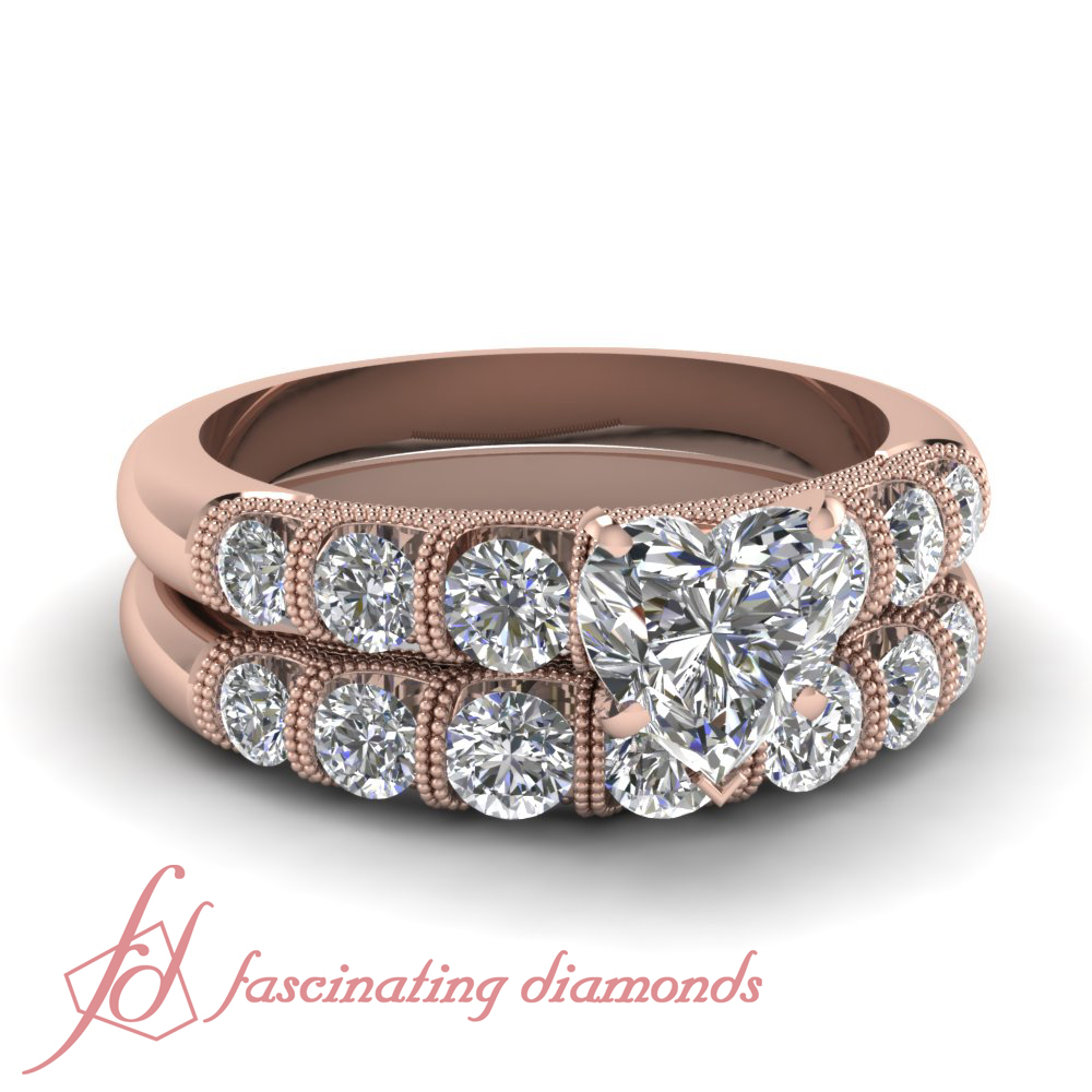 Heart Shaped Diamond Rose Gold Milgrain Wedding And Engagement Ring Set 1 85