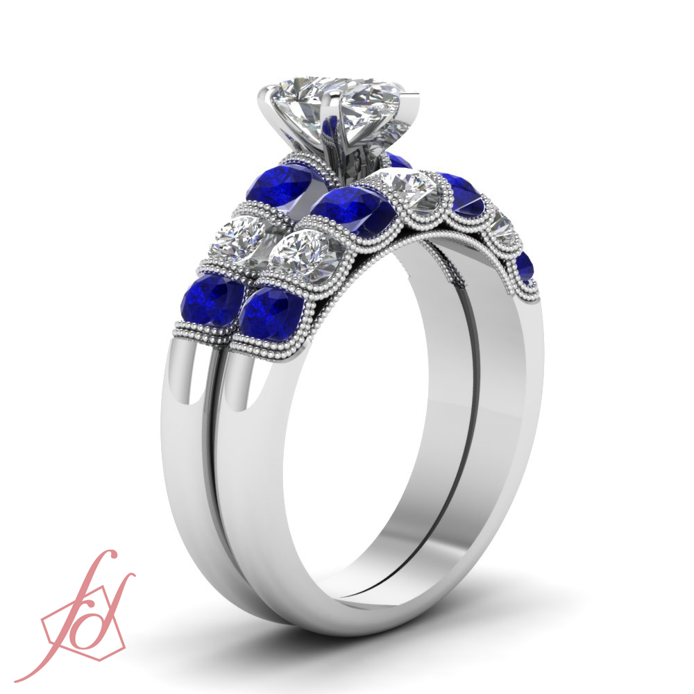 1 80 Ct Pear Shaped SI2 E Diamond & Blue Sapphire Engagement Wedding Ring