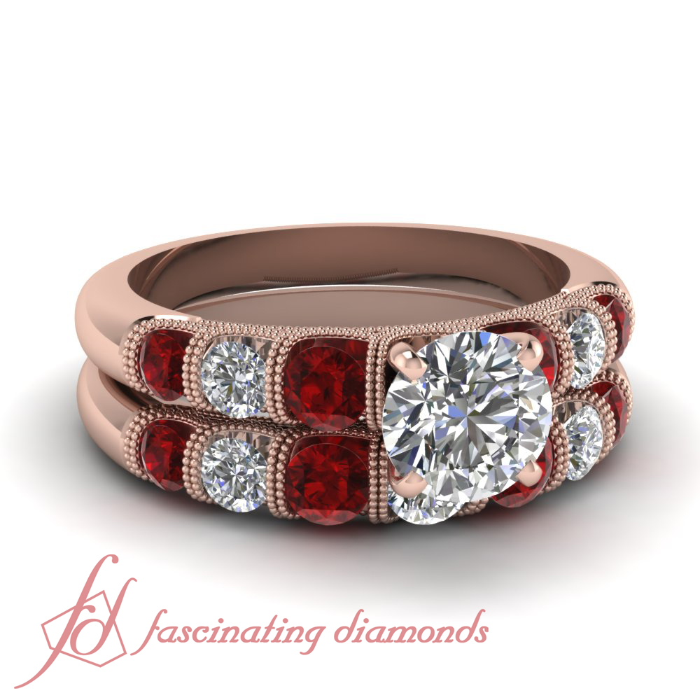 Colored Diamond Wedding Ring Sets: Ruby Engagement Wedding Rings Set 1.75 Ct Round Ideal Cut