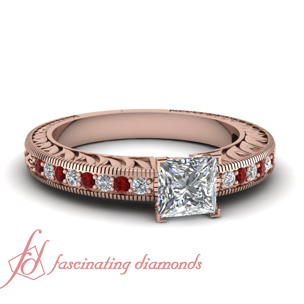 Rose Gold Affordable Princess Cut & Ruby Diamond Antique Engagement Rings