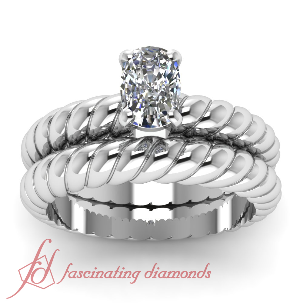 1 2 CT Cushion CUT F Color Diamond Solitaire Spiral Design Wedding Rings SET