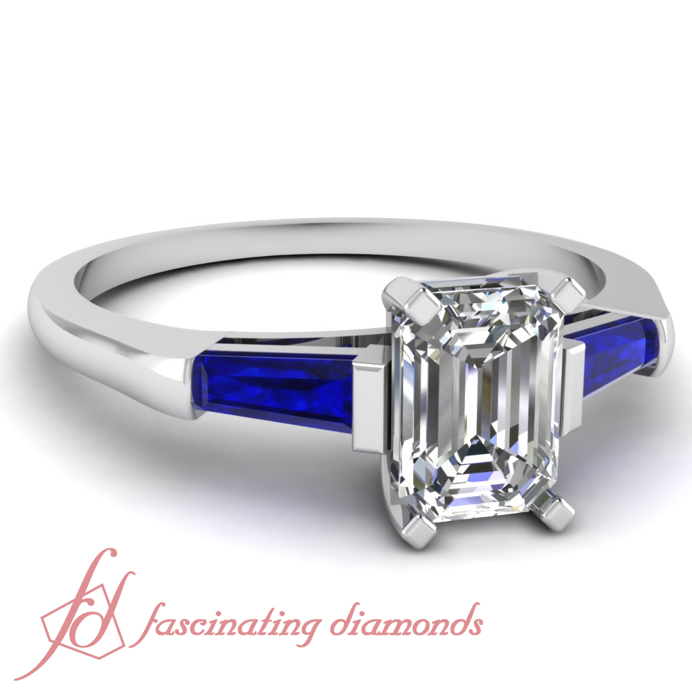 32cdc6f9ef659e Three Stone Bar Set 0.85 Ct Emerald Cut Diamond & Blue Sapphire ...