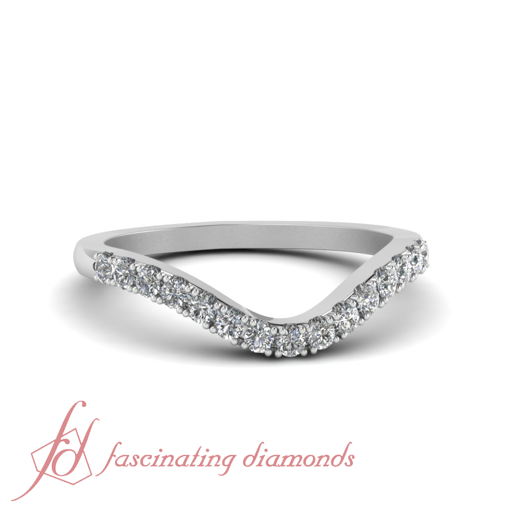 Curved Wedding Bands: 1/4 Carat Round Cut Diamond Curved Wedding Band In 14K