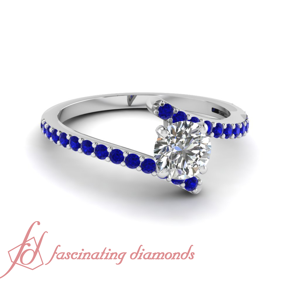 3 4 Ct Blue Sapphire & Round Cut Diamond White Gold Engagement Rings For