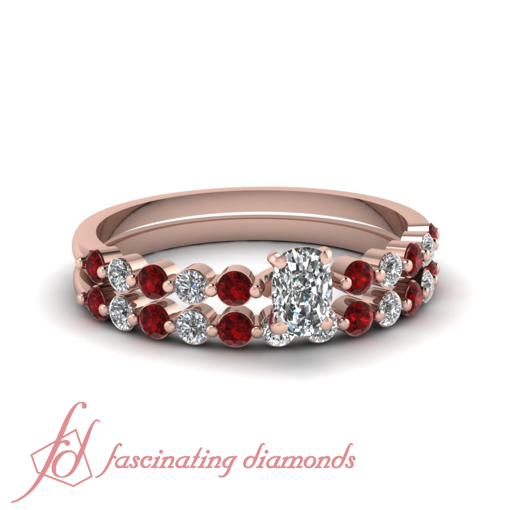 1 1 Carat Cushion Cut Diamond And Ruby Simple Wedding Rings Set In Rose Gold
