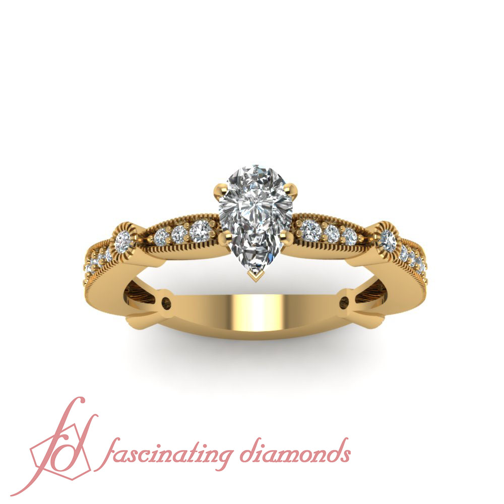 71 CT Pear Shaped SI2 D Color Diamond Tapered Milgrain Pave SET Engagement Ri