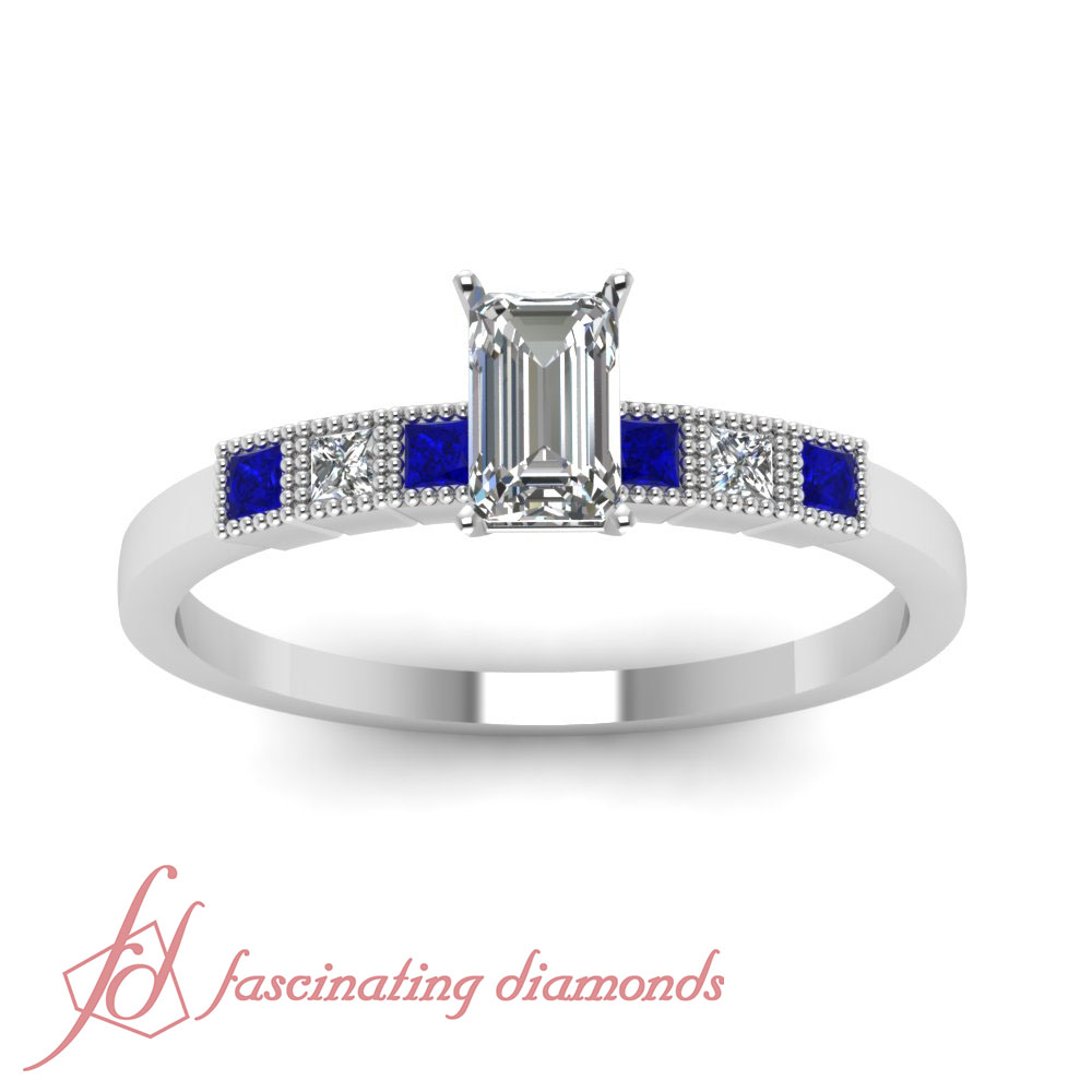 milgrain engagement ring bezel set 0 65 ct emerald cut