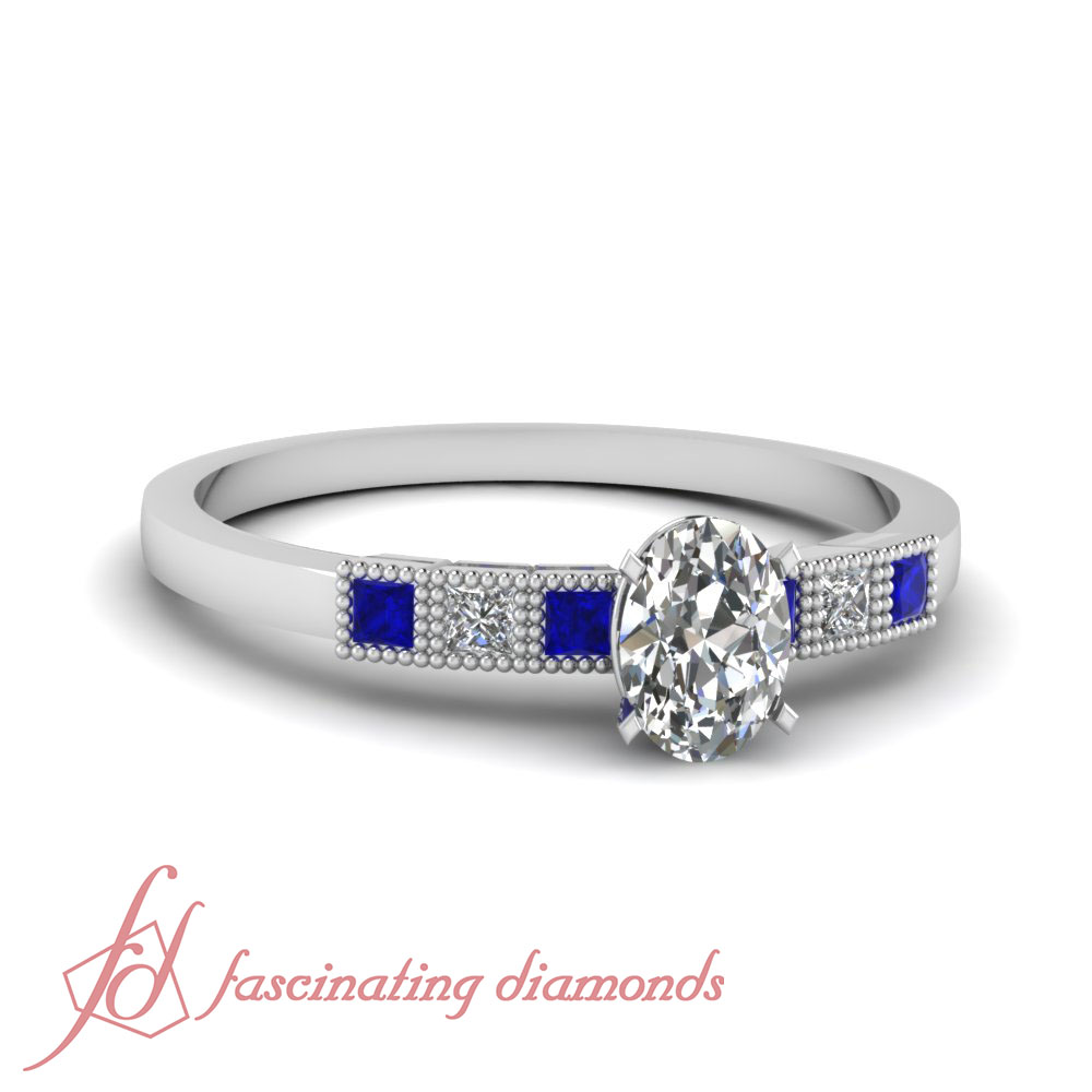 .65 Ct Oval Shaped Diamond & Blue Sapphire Engagement Ring ...