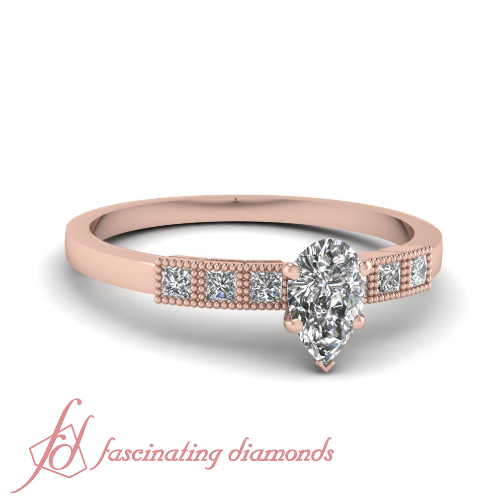 14K Rose Gold Engagement Rings With Pear Shaped & Princess Cut Diamond 0