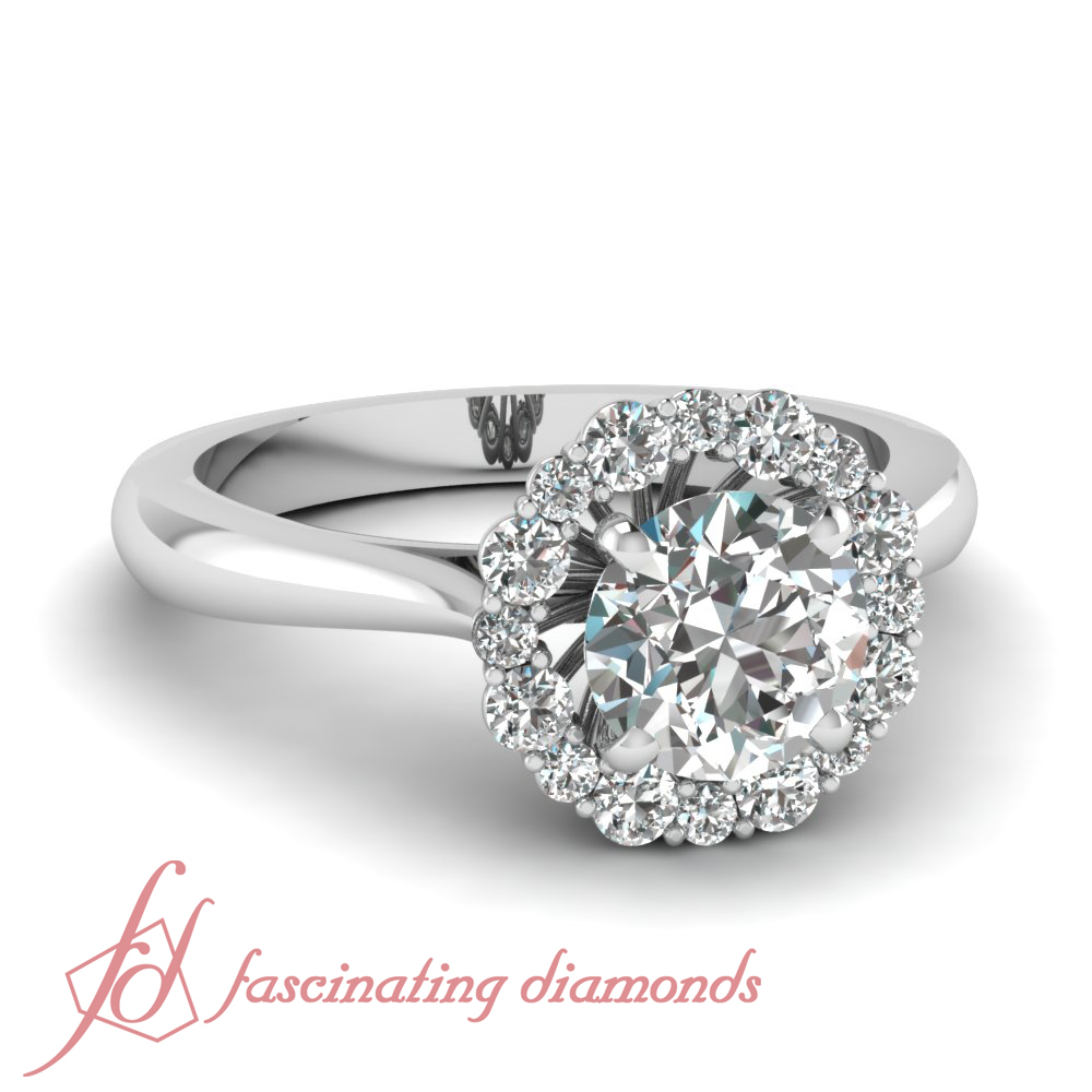1 Carat Round Untreated Diamond Tapered Cathedral Halo Engagement Ring Pave S