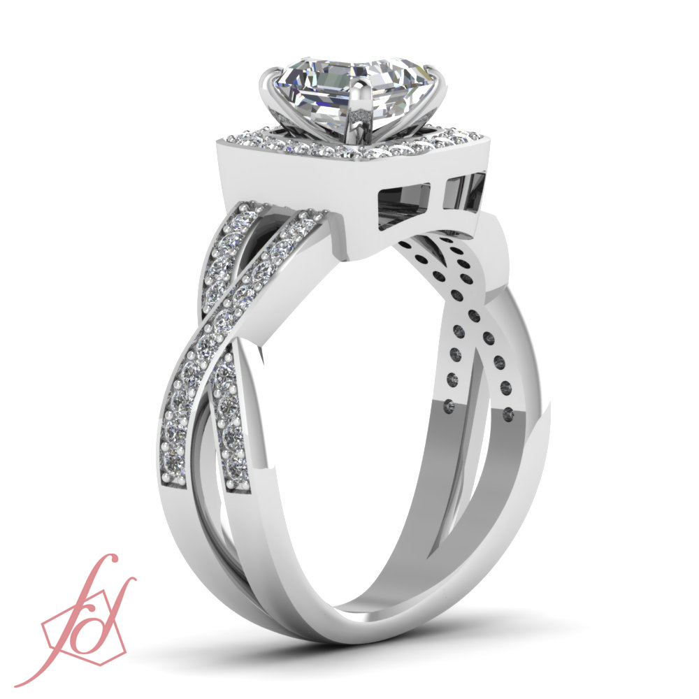 Colored Diamond Wedding Ring Sets: Intertwined Engagement Ring Pave Set 1 22 Ct Asscher Cut