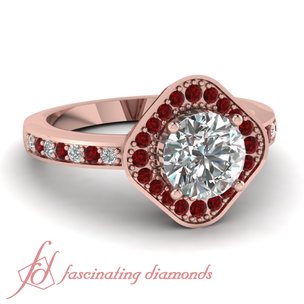 Halo Cosmic RED Ruby Pave SET Engagement Ring 1 CT Round CUT Ideal Diamond SI