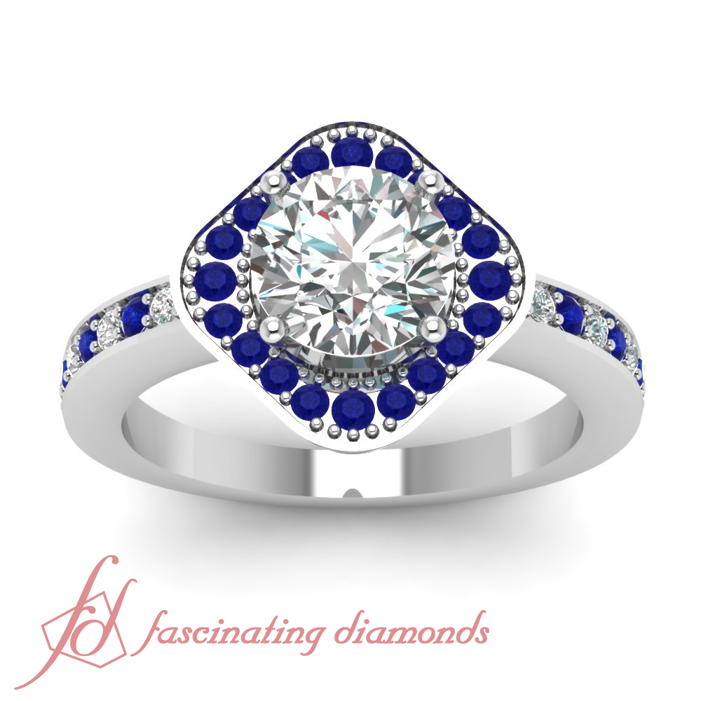 Halo Cosmic Pave Blue Sapphire Engagement Ring 1 Ct Round Cut Ideal Diamond S