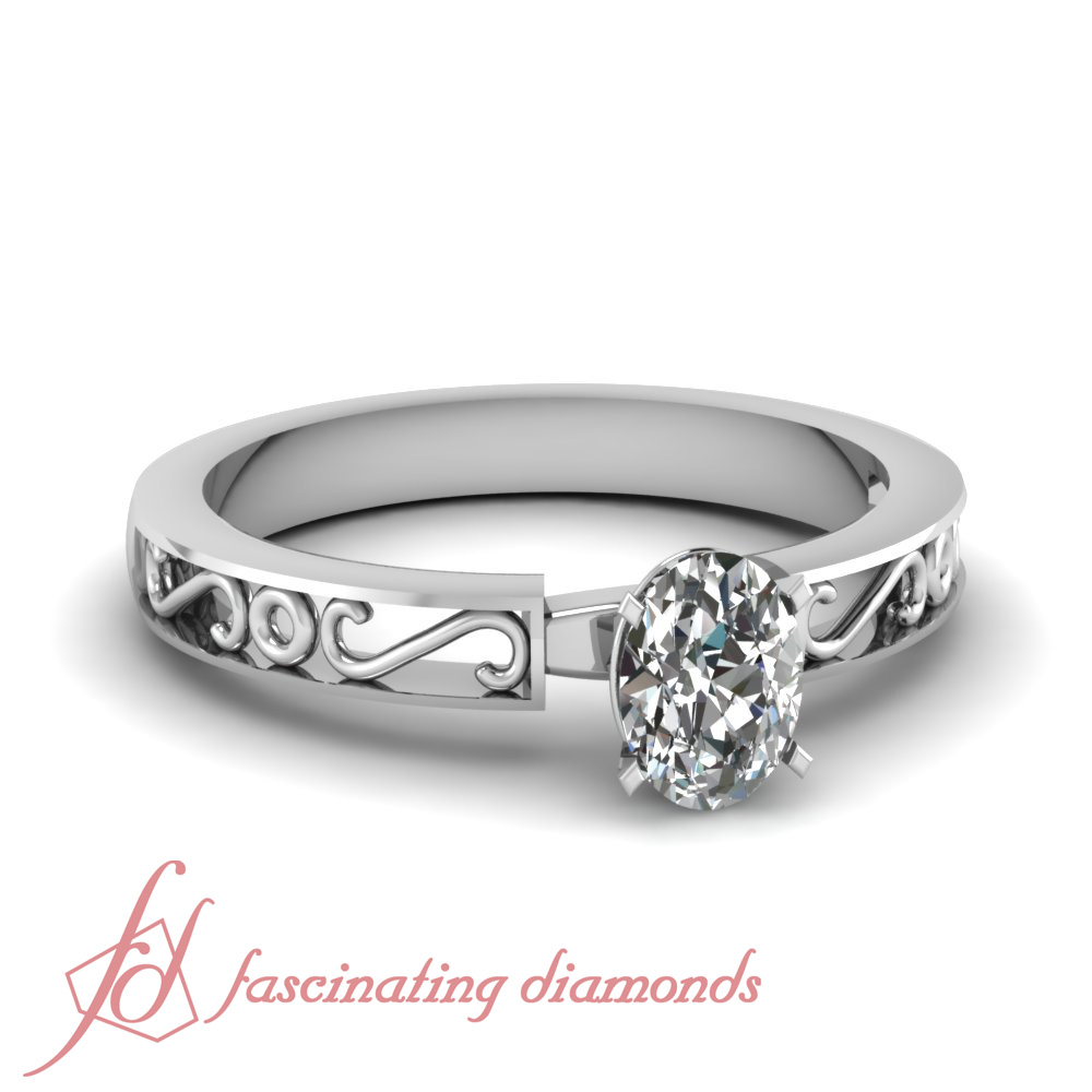 1 2 Carat Oval Shaped Diamond S Design Solitaire Engagement Ring VS1 D Color
