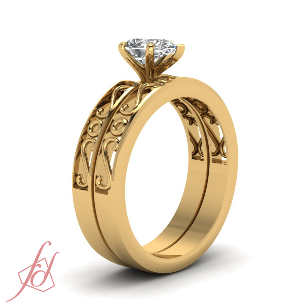 solitaire engagement rings sets for women 1 2 carat pear