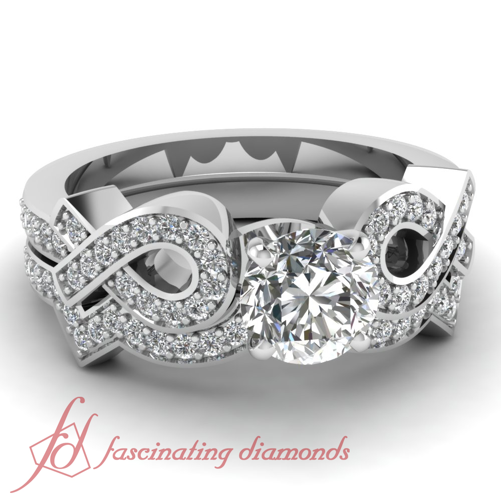Colored Diamond Wedding Ring Sets: 1 10 Ct Round Very Good Cut F Color Diamond Twin Entangled