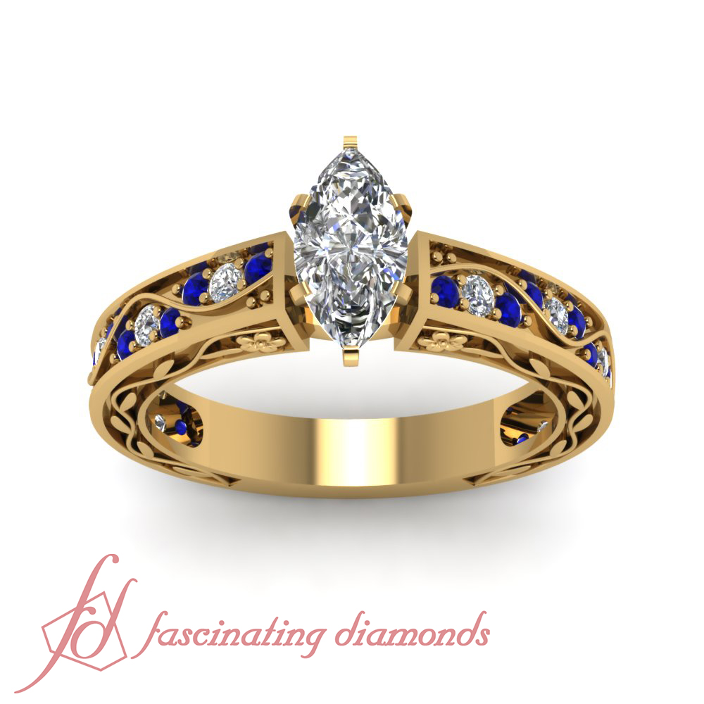 85-Ct-Marquise-Cut-SI1-E-Diamond-amp-Blue-Sapphire-Vintage-Style-Engagement-Ring