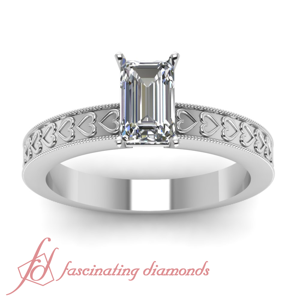 1 2 Carat Emerald CUT SI1 E Color Diamond Engraved Solitaire Engagement Ring