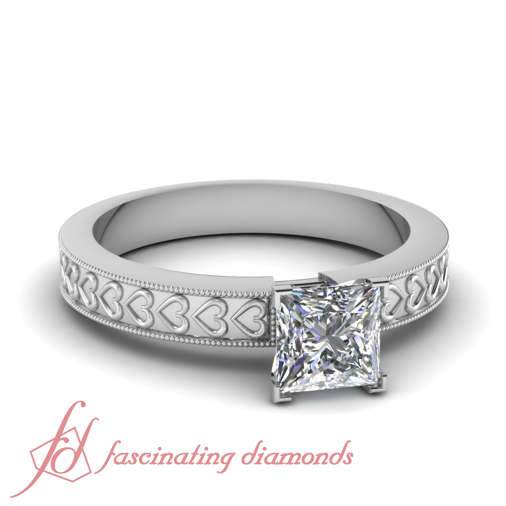 1 Ct Princess Cut Solitaire Vintage Inspired Diamond Rings For Women Engageme