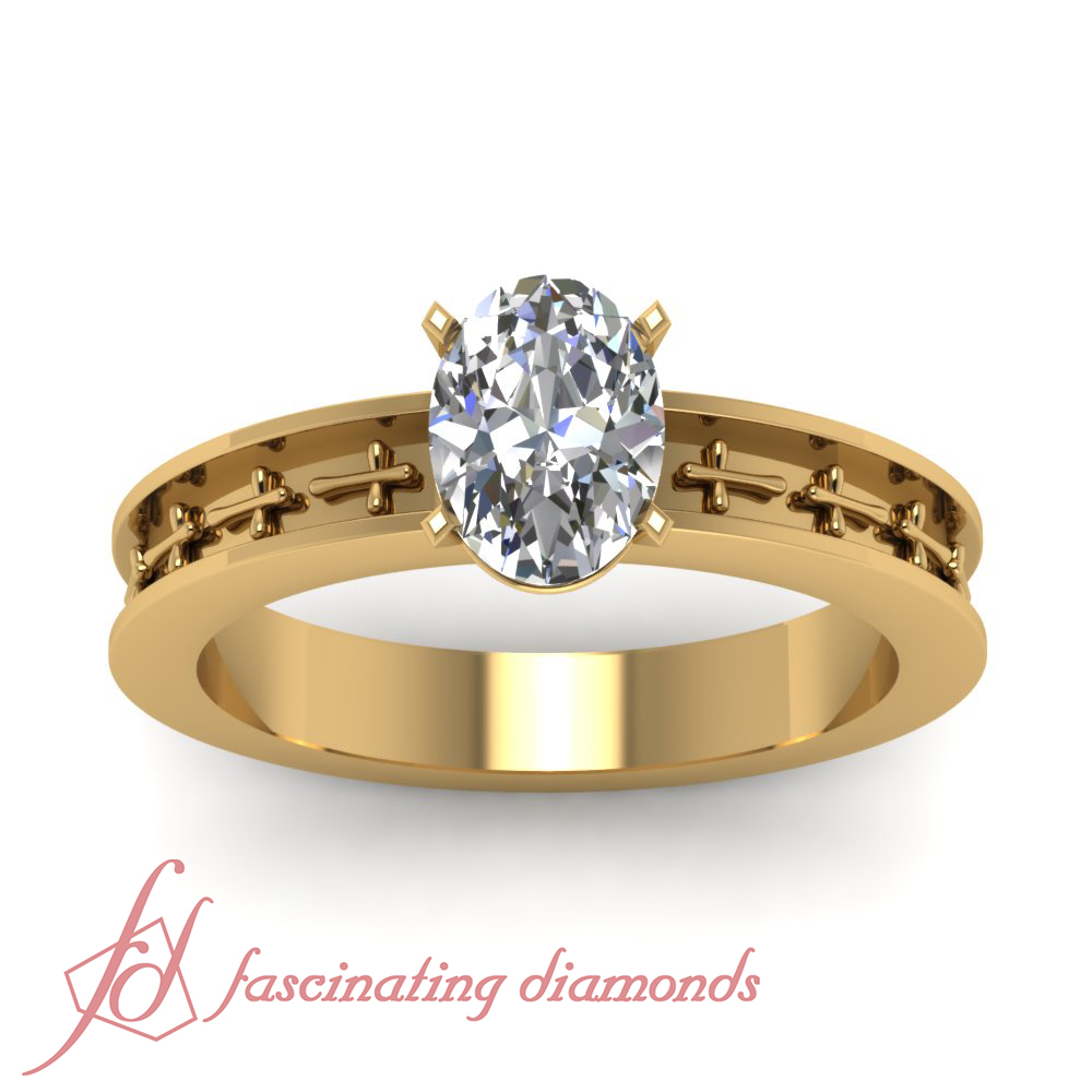 Cross Design Solitaire Engagement Ring 1 2 Carat Oval Shaped SI2 E Color Diam