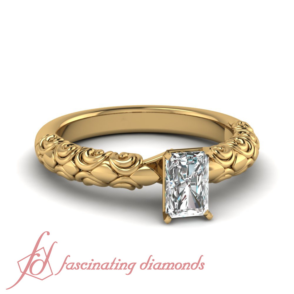 1 2 Carat Radiant Cut VVS1 Diamond Solitaire Hand Engraved Engagement Ring GIA
