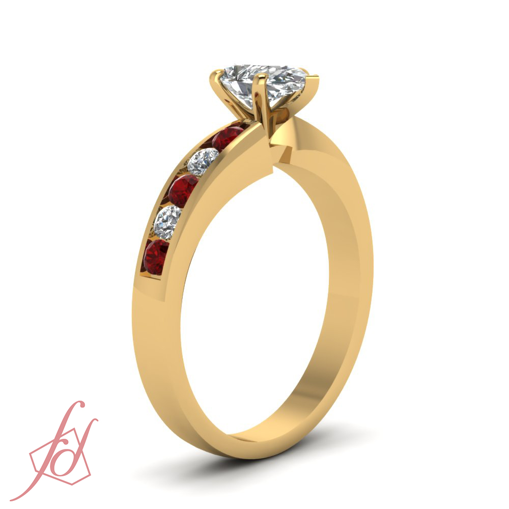 3 4 CARAT Pear Shaped D Color Diamond & Ruby Engagement Ring 14K GIA Cert