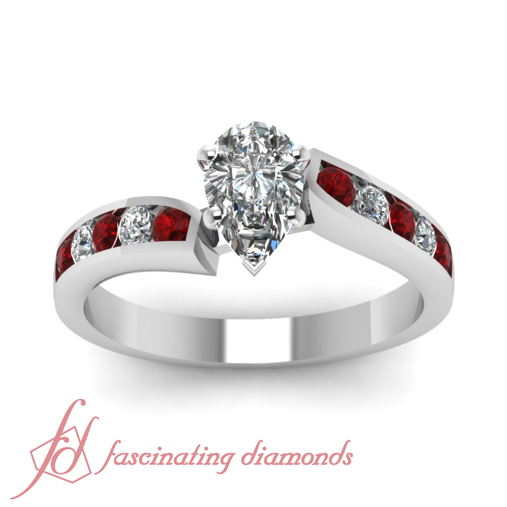 3 4 CARAT Pear Shaped D Color Diamond Ruby Engagement Ring 14K GIA Certified
