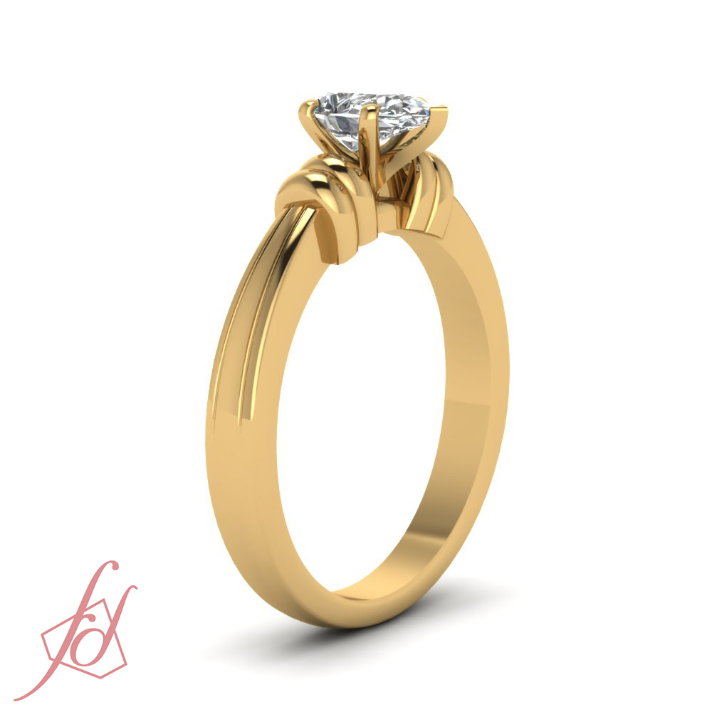 1 2 Carat Pear Shaped Diamond Solitaire Bar Design Engagement Ring SI2 G Colo