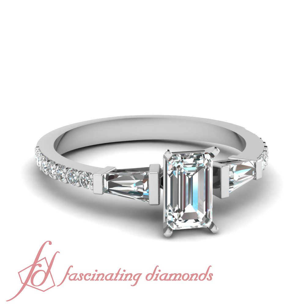 1 carat Tapered Baguette And Emerald Cut Diamond Engagement Ring For Women VS