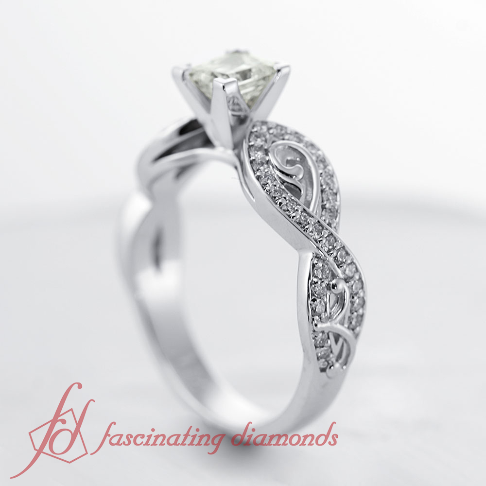 85 Ct Princess Cut Diamond Filigree Engagement Rings For Women Pave Set 14K
