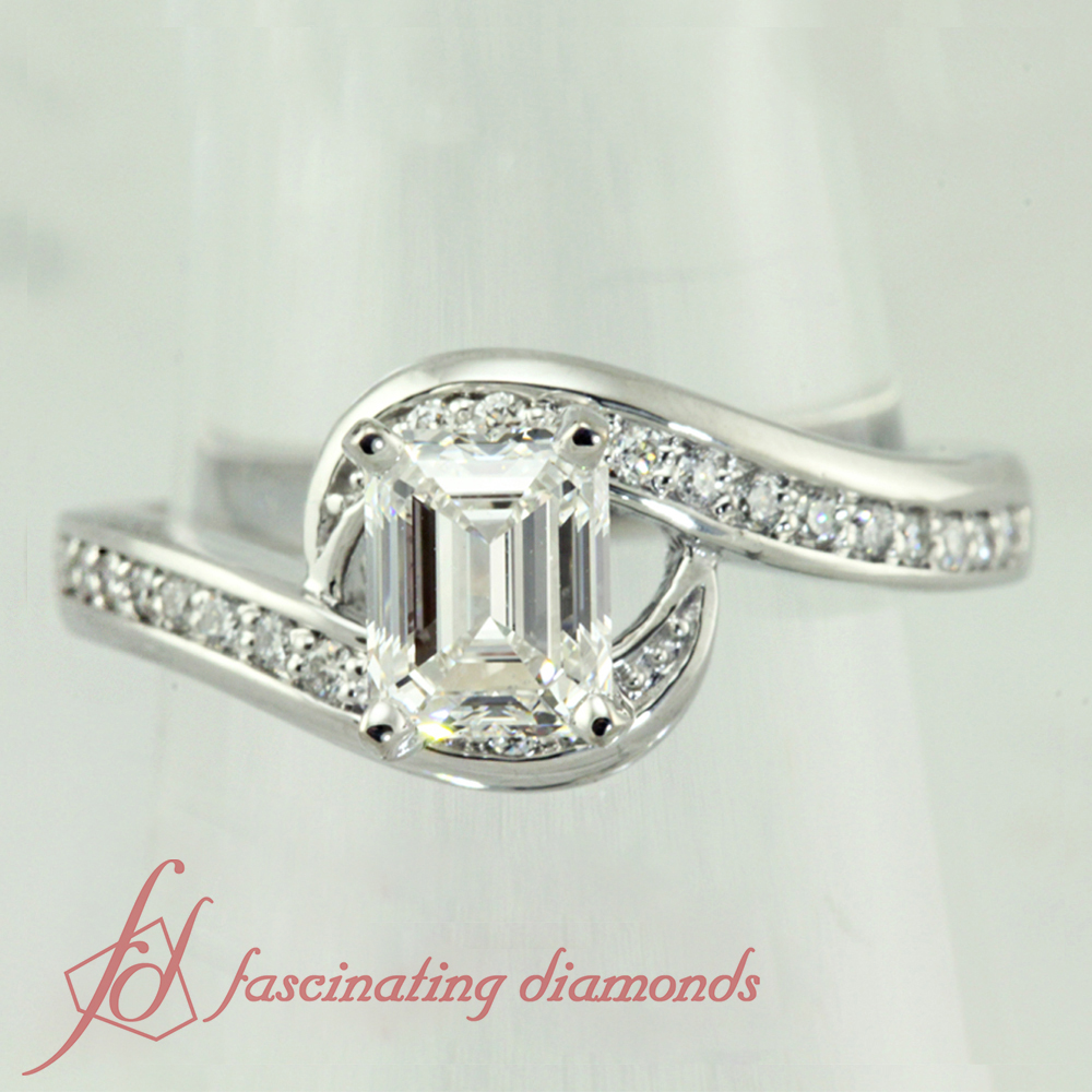 pave set interlock engagement ring 1 30 ct emerald cut h