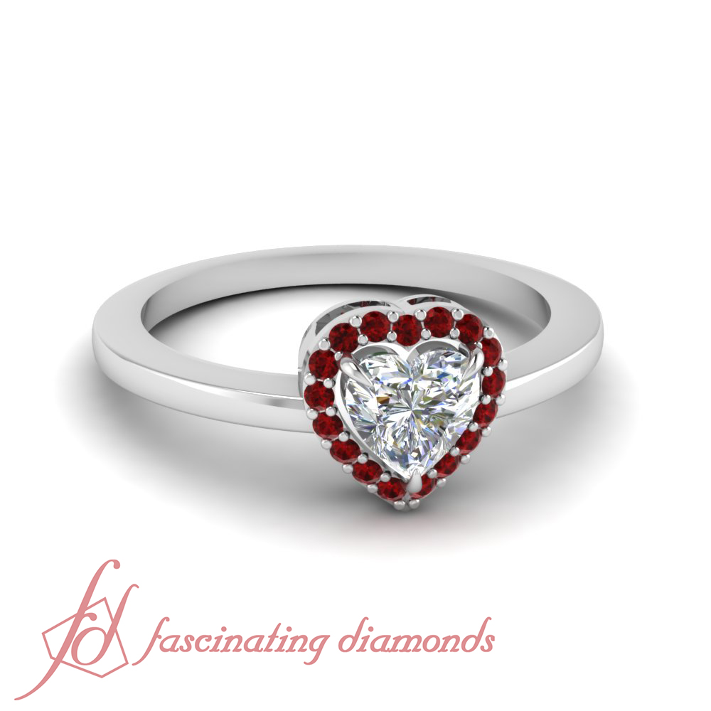 9bb69b8ddfc38 Details about Halo Plain Shank Ruby Engagement Ring With Heart Shaped  Diamond FLAWLESS 0.60 Ct