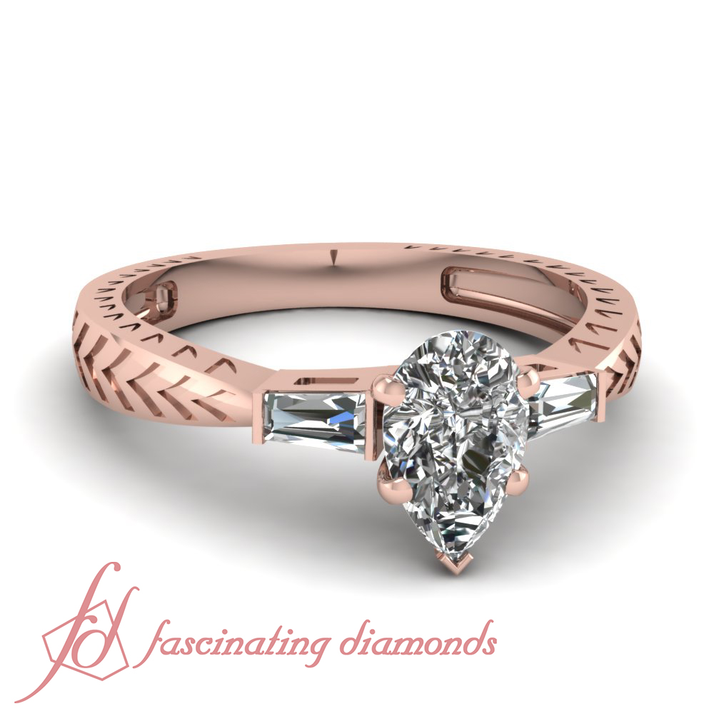 Colored Diamond Wedding Ring Sets: .70 Ct Pear Shaped SI2-G Color Diamond Engagement Arrow