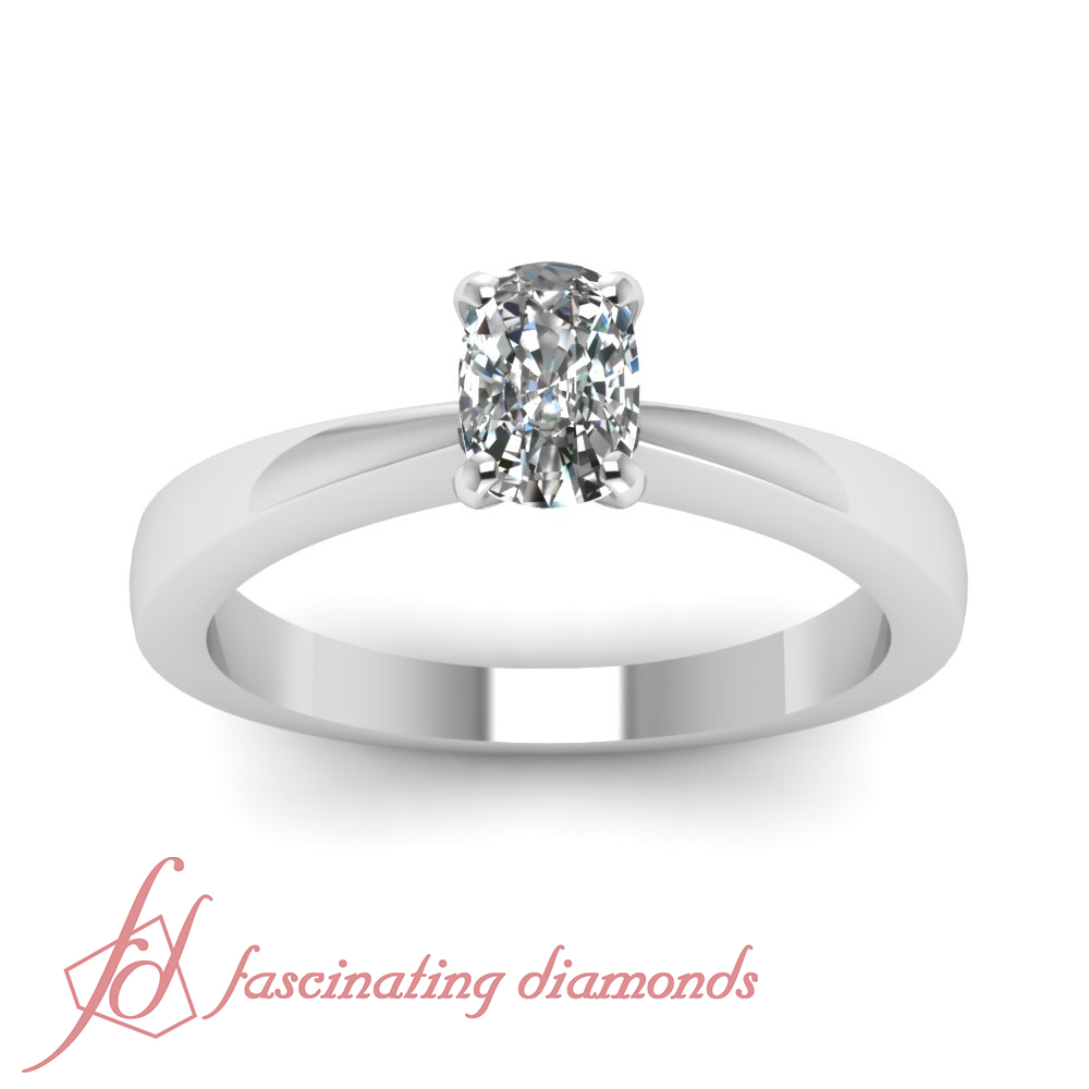 3 4 Ct Cushion Very Good Cut Diamond Solitaire Tapered Edge Engagement Ring GIA