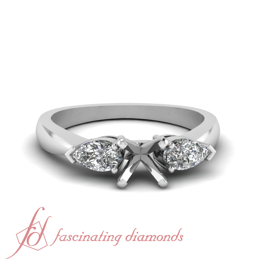 3 Stone Pear Shape Diamond Engagement Ring Setting place your own