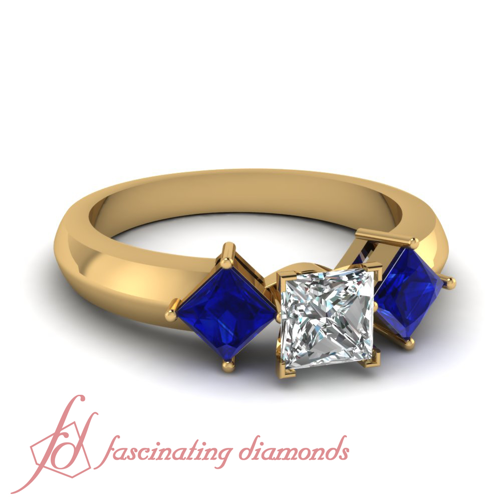 three stone blue sapphire engagement ring ct princess. Black Bedroom Furniture Sets. Home Design Ideas