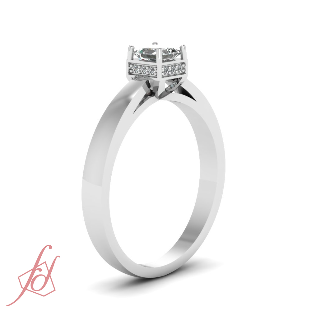 cathedral style square crown engagement ring 0 74 ct