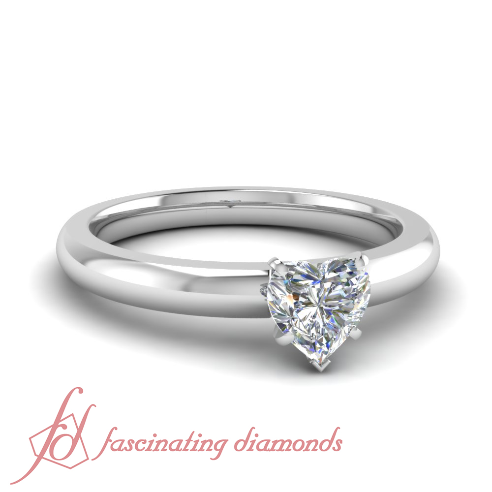 Solitaire Engagement Ring 1 2 Carat Heart Shape Ideal Cut Diamond FLAWLESS 14