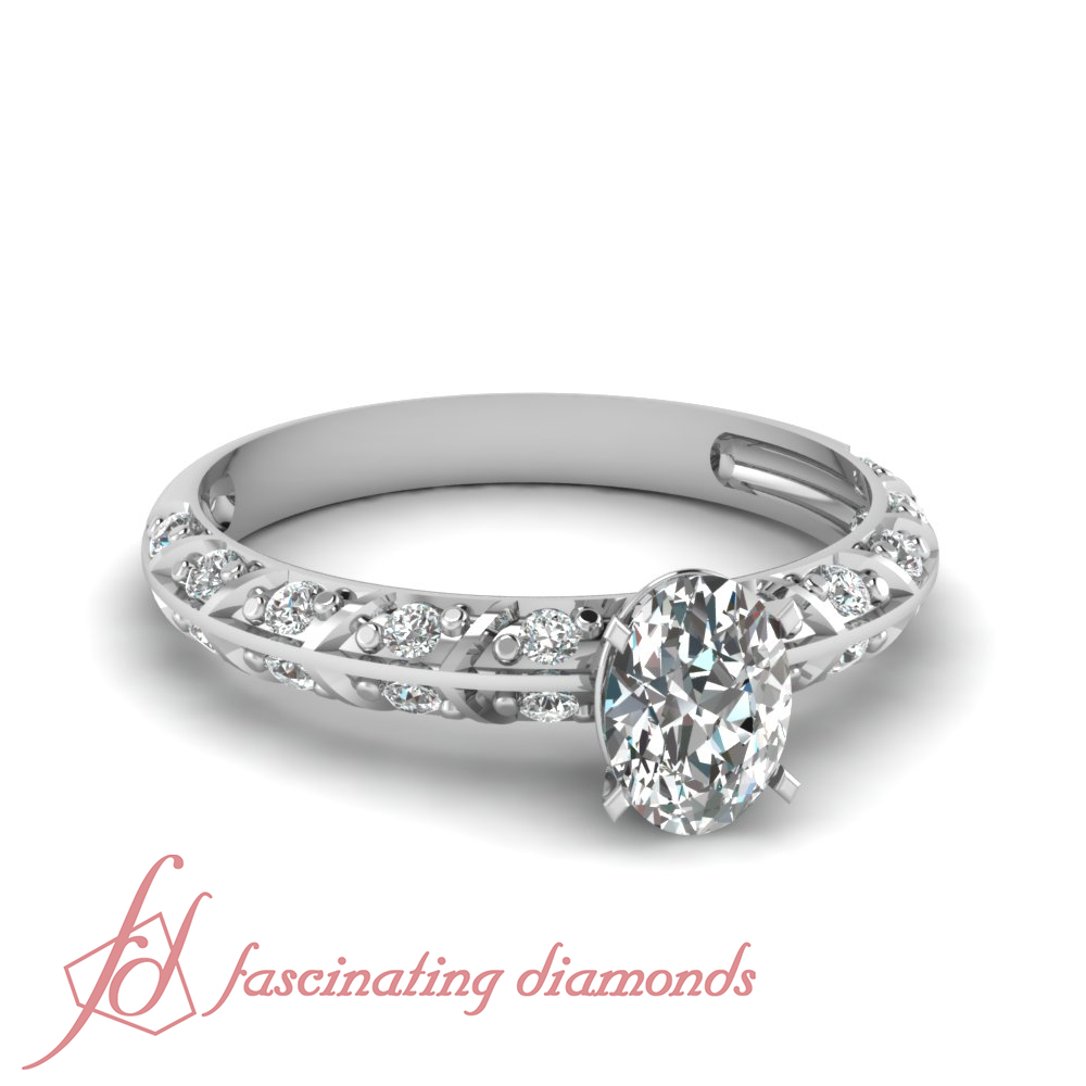 Oval shaped d color diamond pave set engagement ring cut ideal 14k gia
