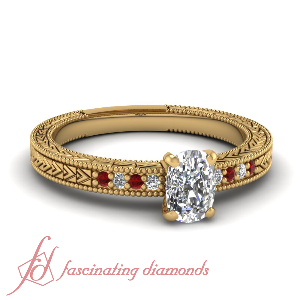 1 ct cushion cut ruby simple vintage pave