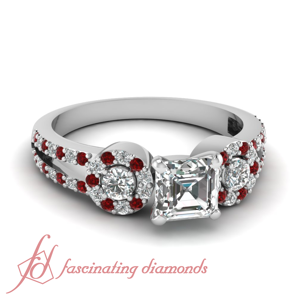 1 50 Ct Platinum Engagement Rings For Women With Asscher Cut Diamond And Ruby