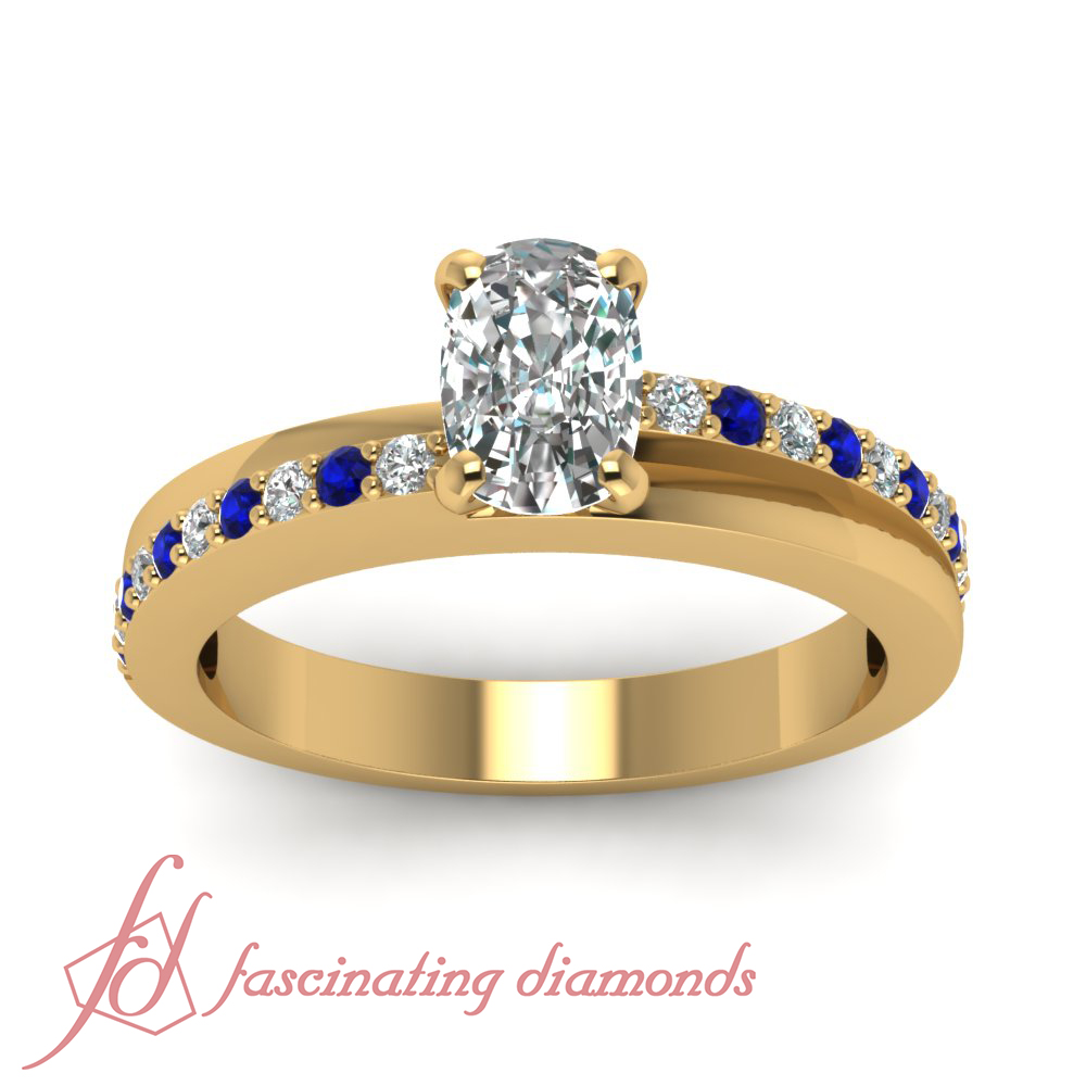 3 4 Ct Cushion Cut Diamond & Round Blue Sapphire Engagement Ring Solid 14