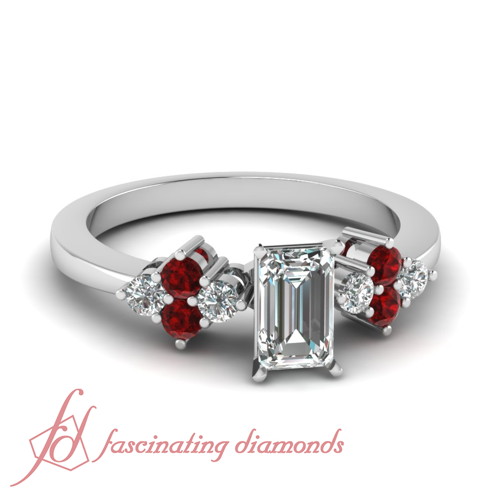 ruby and emerald cut engagement rings for