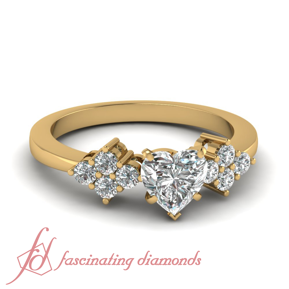 1 Ct GIA Certified Heart Unique Yellow Gold Diamond Engagement Rings For Wome