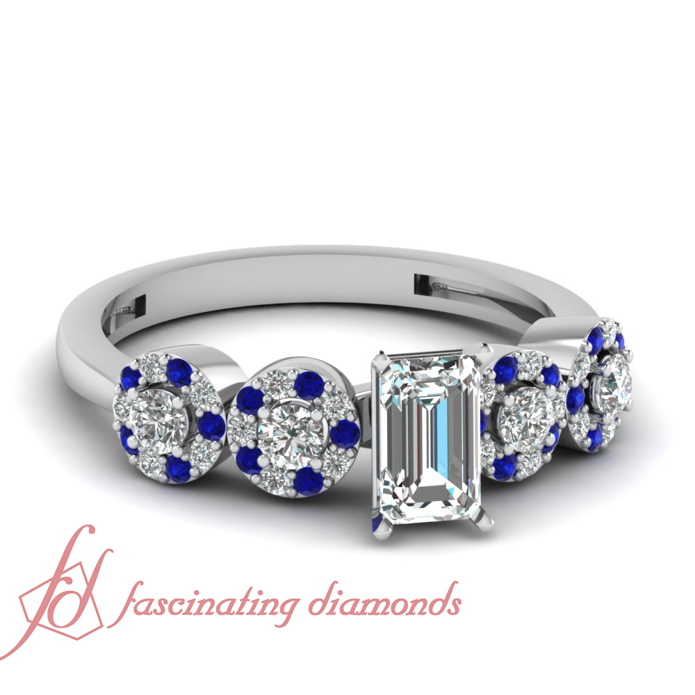 90 ct emerald cut blue sapphire engagement ring
