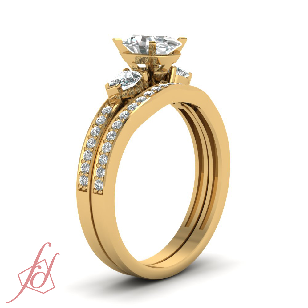 Colored Diamond Wedding Ring Sets: Trilogy Wedding Rings Pave Set 1 Ct Oval Shaped D-Color
