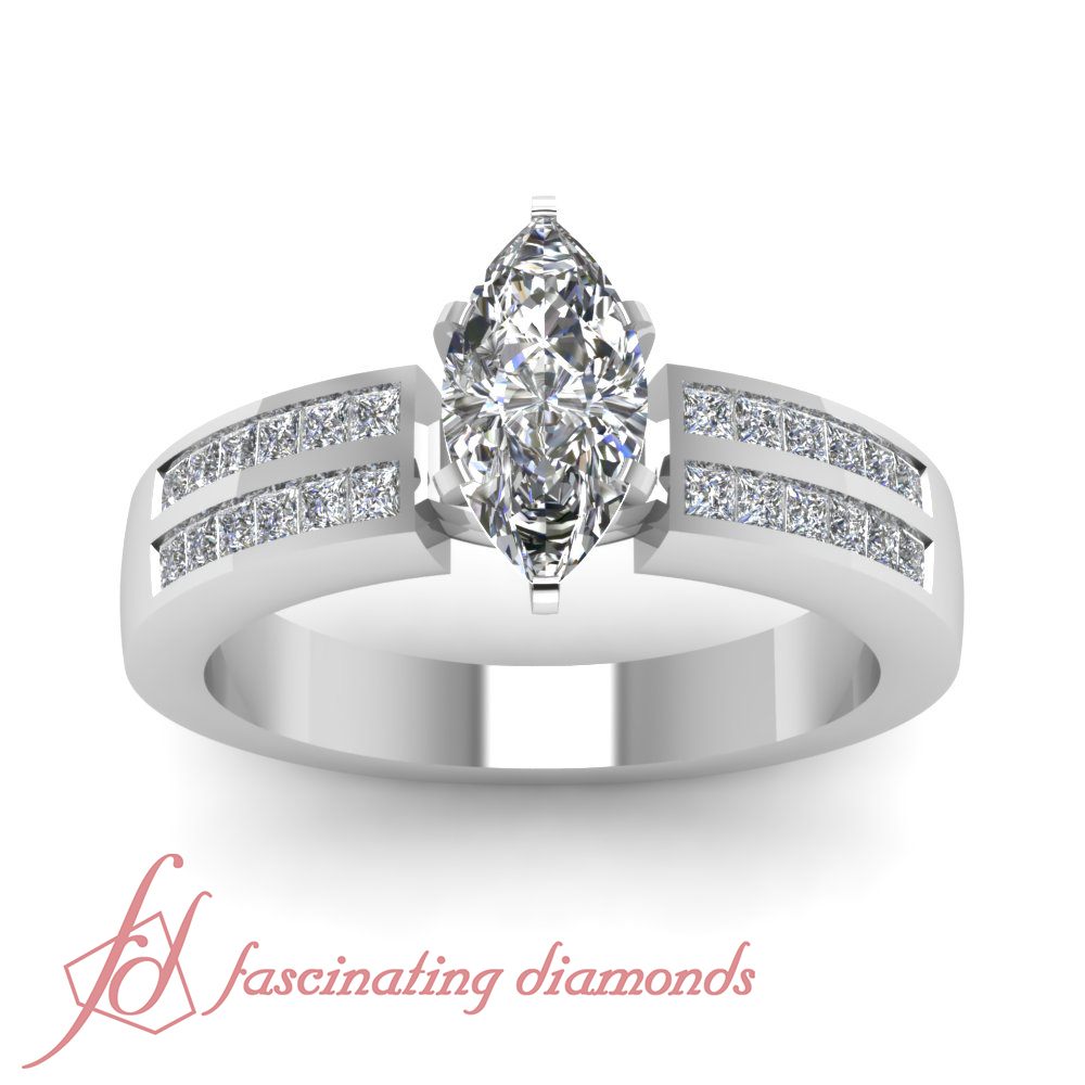 Colored Diamond Wedding Ring Sets: Channel Set Double Row Engagement Ring 1 CARAT Marquise