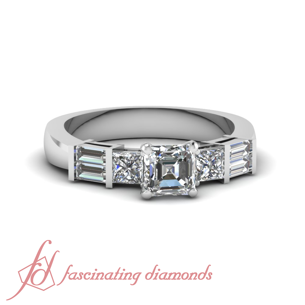 Tri Form Engagement Ring 0.68 TCW. Asscher Cut:Very Good Diamond SI1-D Color GIA
