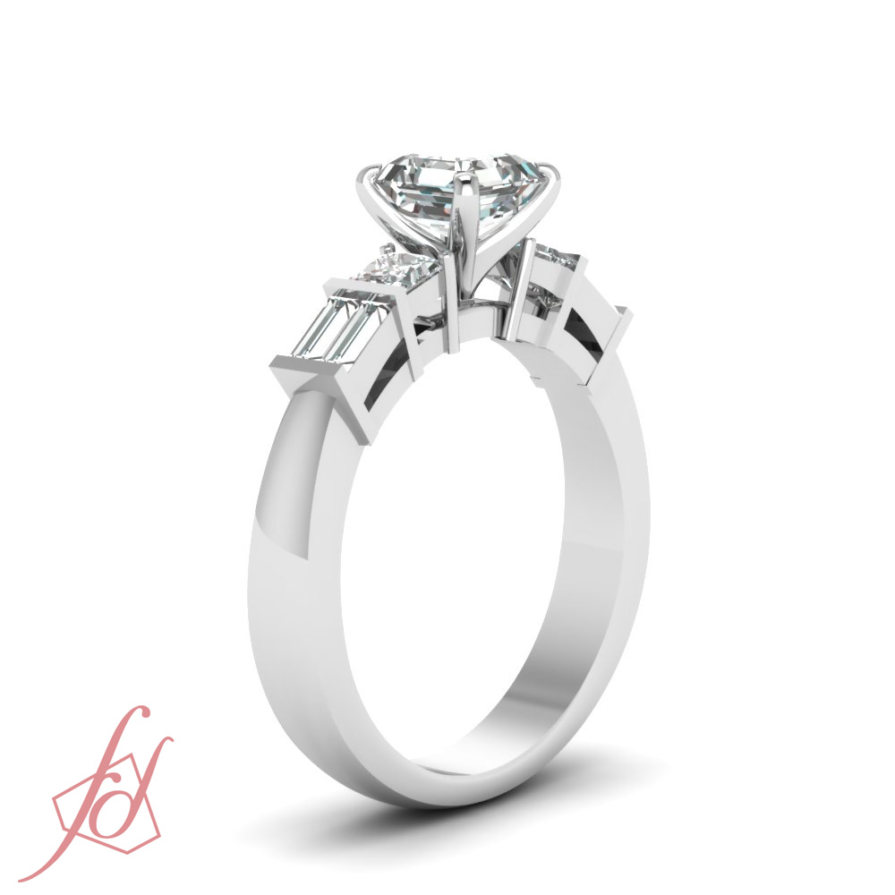 Tri Form Engagement Ring 0.68 TCW. Asscher Cut:Very Good Diamond SI1-D Color GIA 2