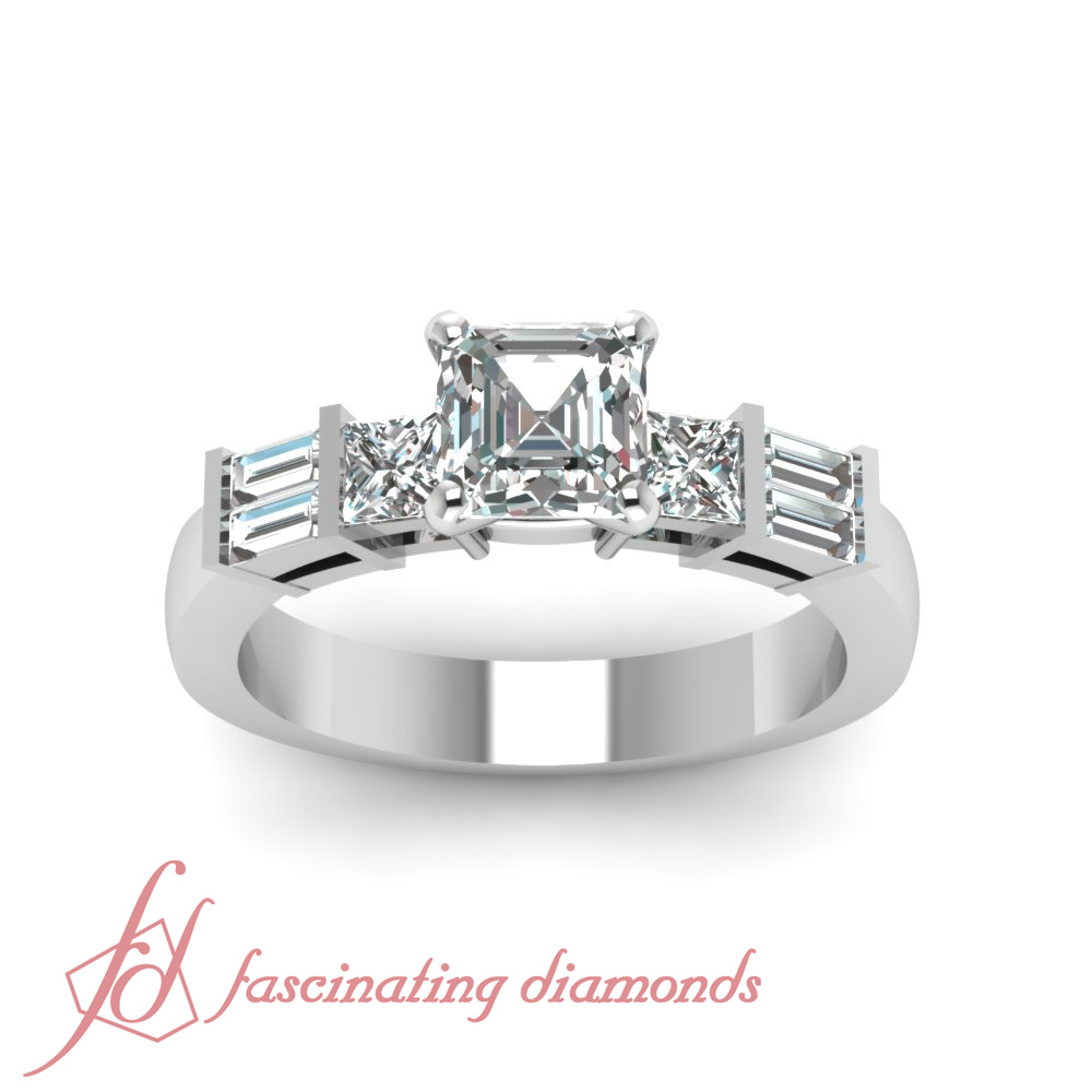 Tri Form Engagement Ring 0.68 TCW. Asscher Cut:Very Good Diamond SI1-D Color GIA 1